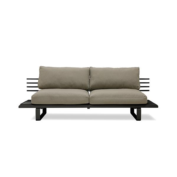 HK Living Black outdoor sofa - Aluminum - 220x84xh63cm