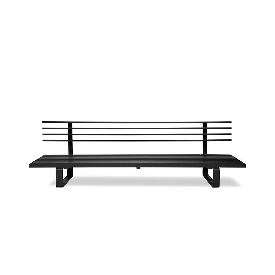 HK Living Banc  / Canapé d'extérieur en Aluminum - noir - 220x84xh63cm