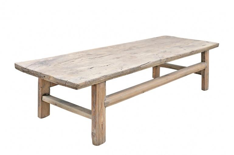 Maisons Origines Table basse bois brut - 170x59x42cm - pièce unique