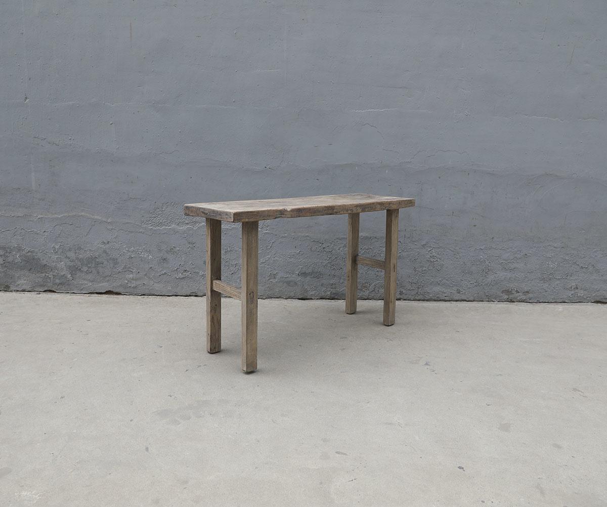 Maisons Origines Table console vintage en bois noyer brut - Piece Unique - 128X42X78cm