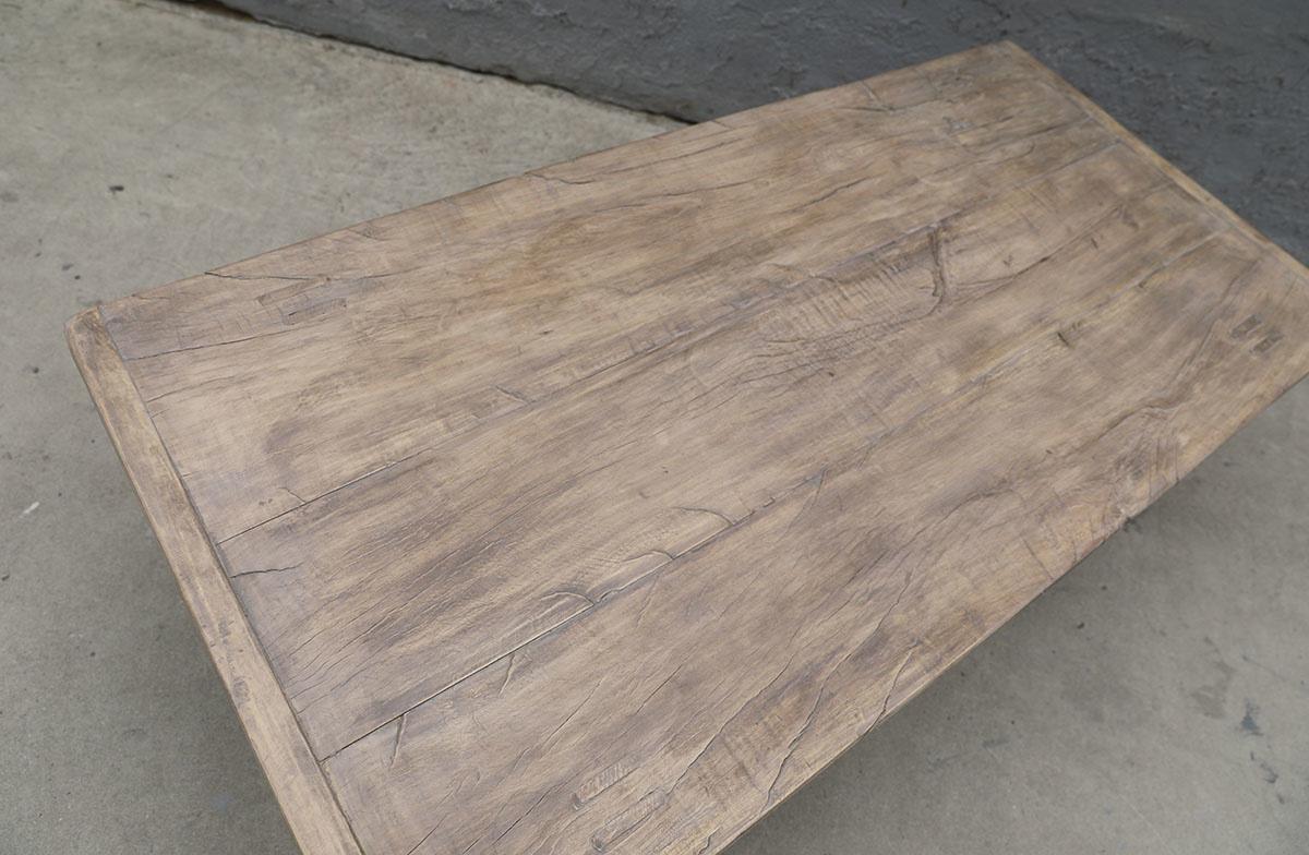 Maisons Origines Table basse vintage / bois brut - 143X69X44cm - noyer brut