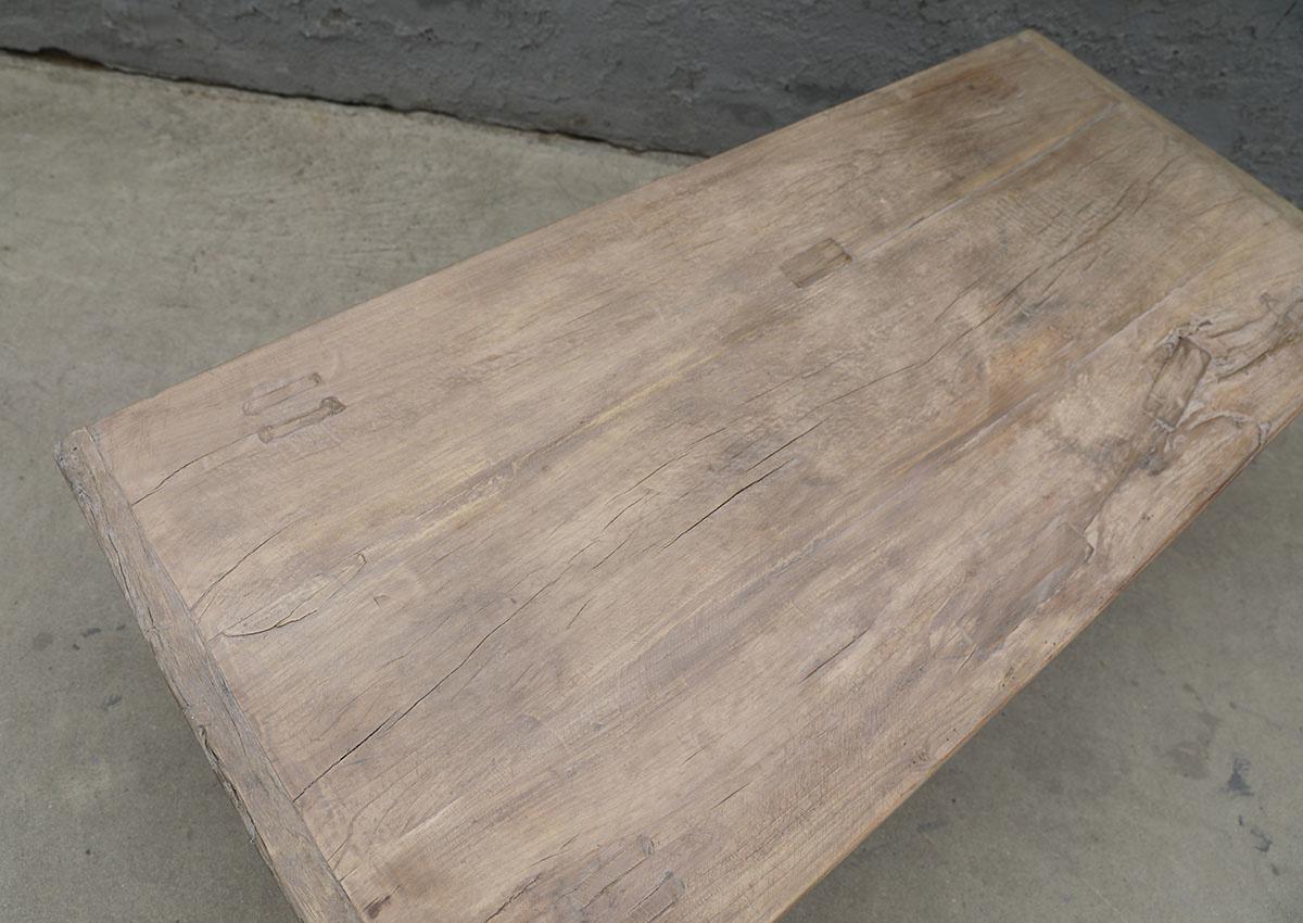 Maisons Origines Table basse vintage / bois brut - 134X62X44cm - noyer brut