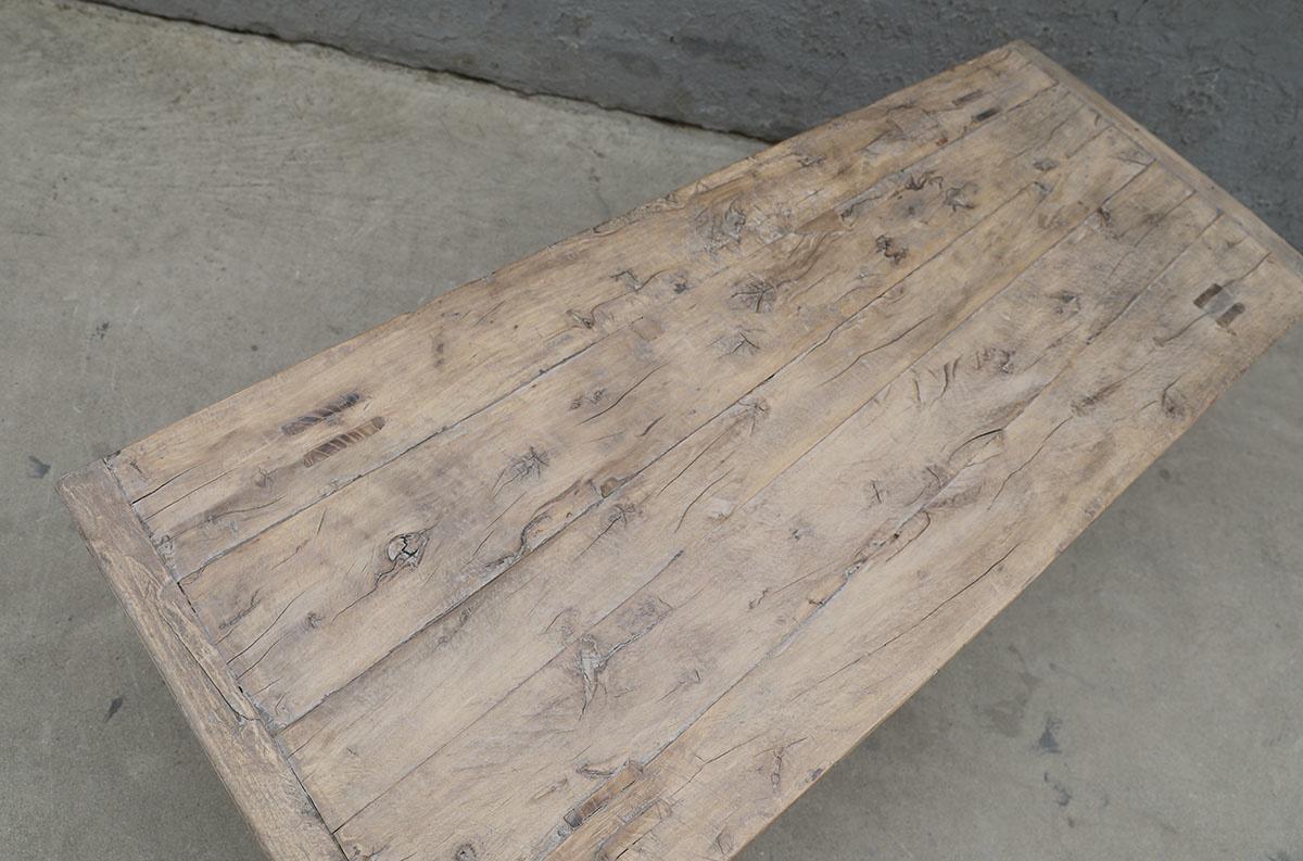 Maisons Origines Table basse vintage / bois brut - 137X54X43cm - noyer brut
