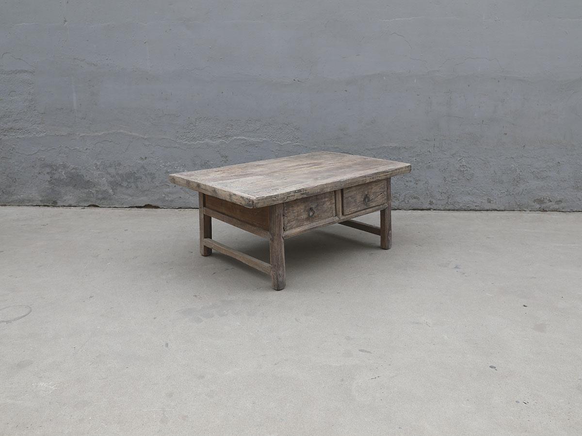 Maisons Origines Raw wood coffee table w/ 2 drawers -106x69xh45cm