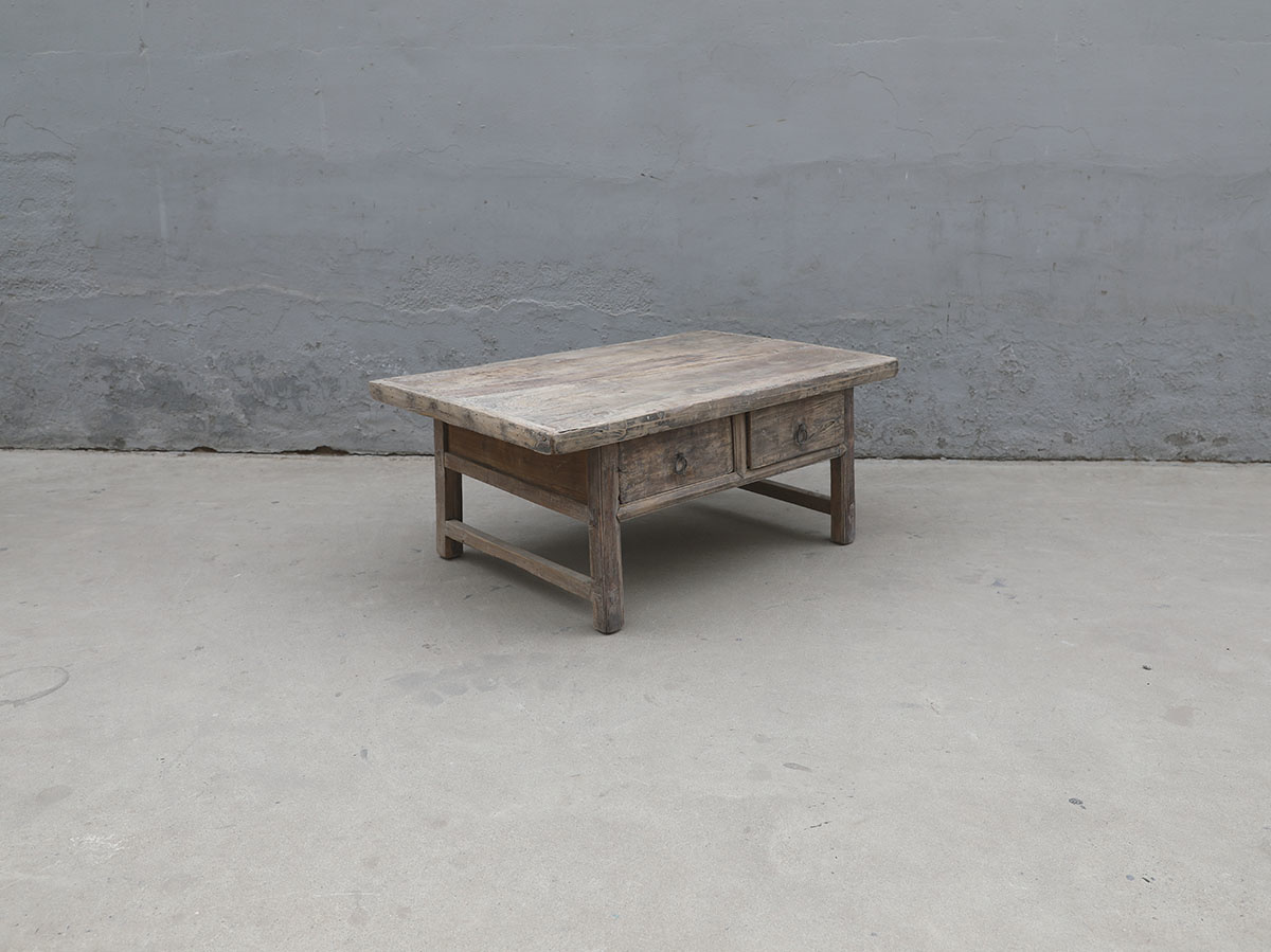 Maisons Origines Table basse bois brut avec 2 tiroirs - 106x69xh45cm