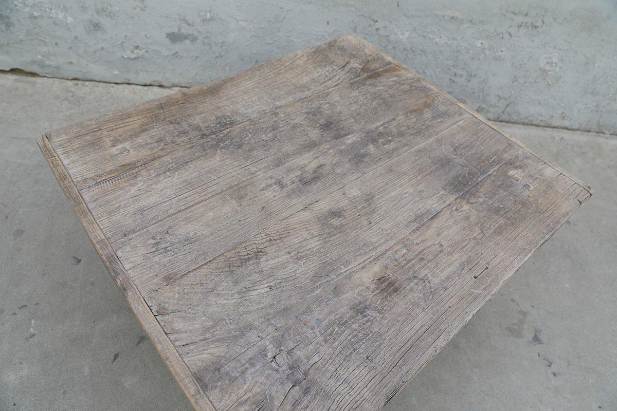 Maisons Origines Table basse bois brut - 99X86X46cm - pièce unique