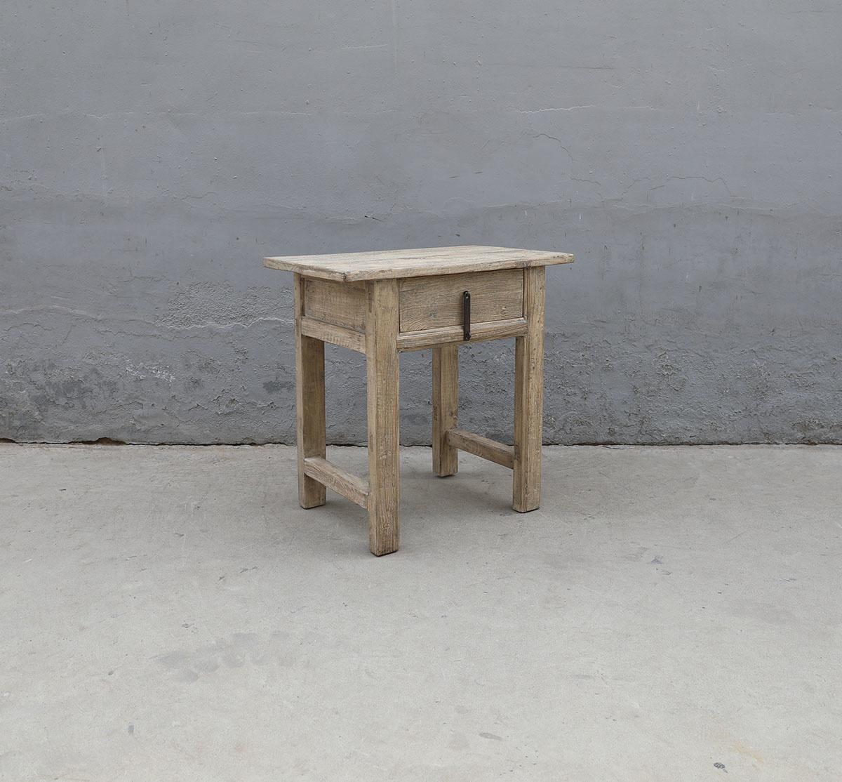Maisons Origines Table console avec tiroirs - Bois brut - 80x50x80cm