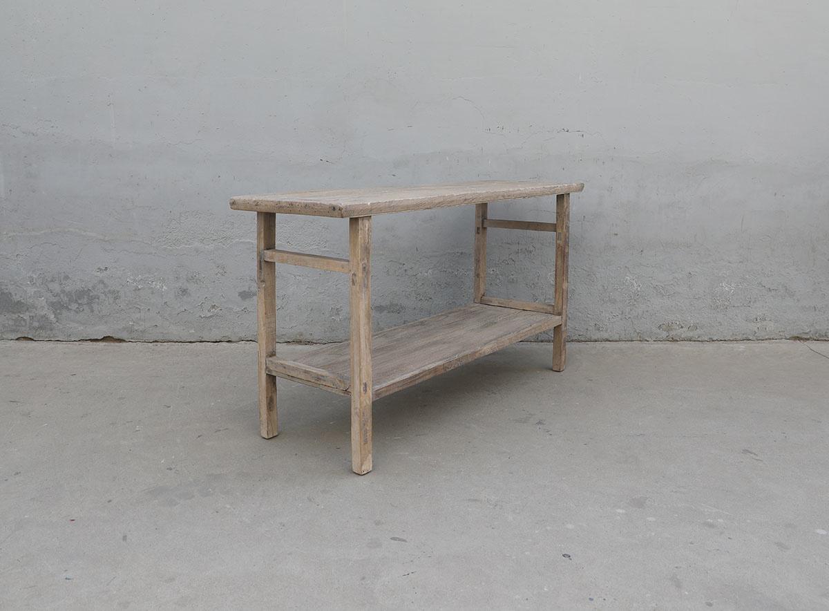 Maisons Origines Table console vintage en bois brut - Piece Unique -151X48X82cm