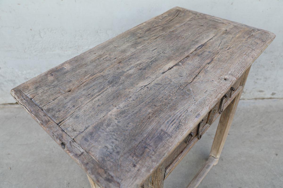 Petite Lily Interiors Console Table Vintage bois brut 2 tiroirs - 86X49XH83cm - pièce unique