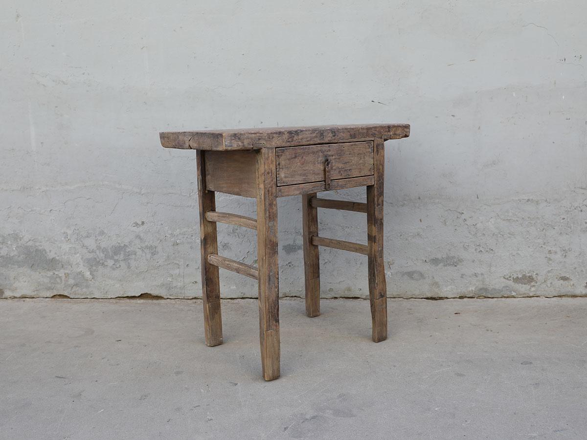 Maisons Origines Console Table Vintage bois brut 1 tiroir - 81X45XH82cm - pièce unique