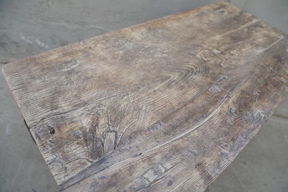 Maisons Origines Table console vintage en bois brut - Piece Unique - 89X50X85cm