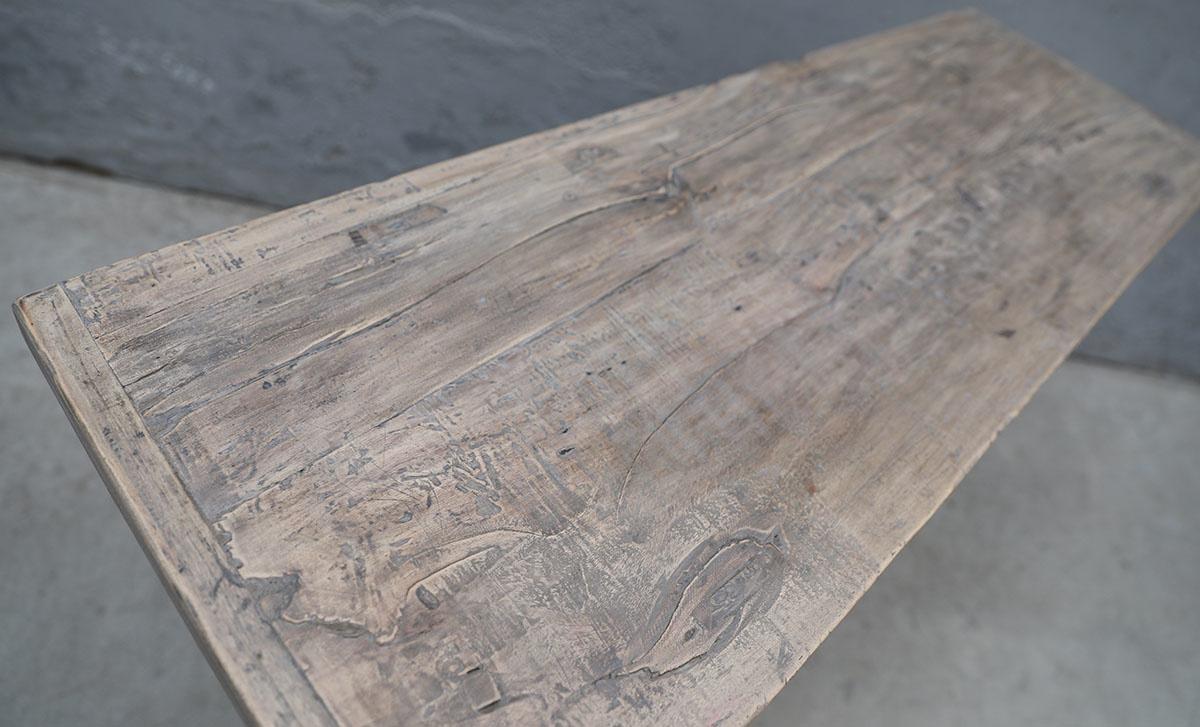 Maisons Origines Table console vintage en Bois brut - 124x42xh83cm - Piece Unique
