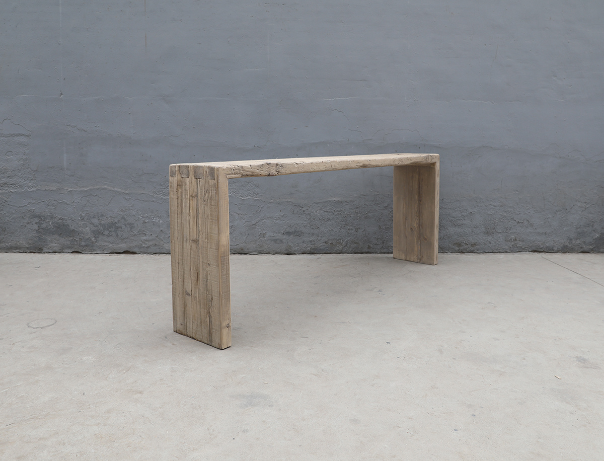 Maisons Origines Table console vintage en Bois brut - Piece Unique - 220X38Xh86cm