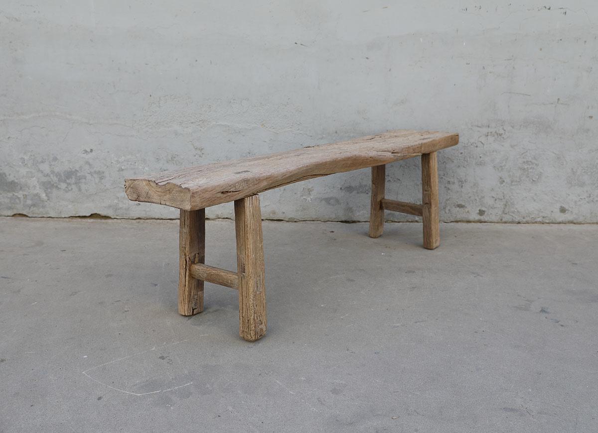Maisons Origines Banc bois brut / Table basse - 158X32XH51cm - pièce unique