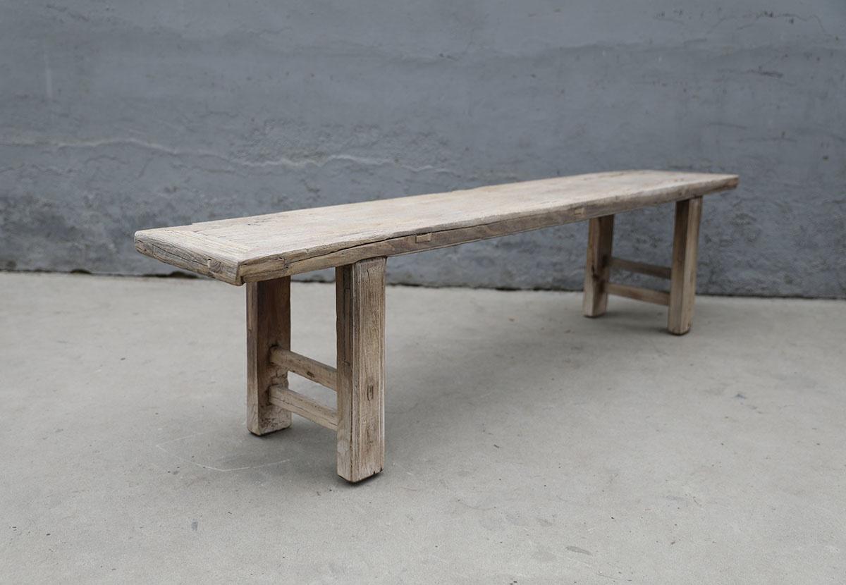 Maisons Origines Banc bois brut / Table basse - 200X38XH50cm - pièce unique