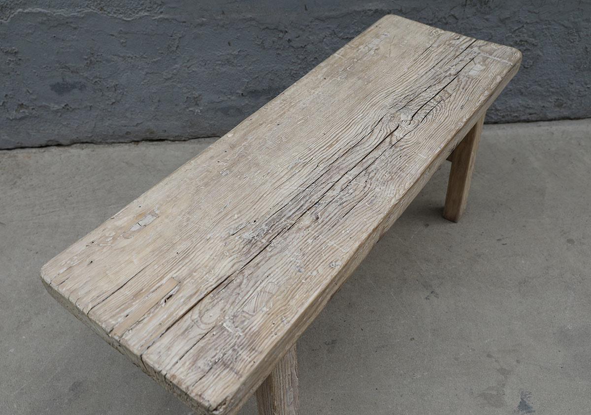 Maisons Origines Banc bois brut / Table basse - 116X39X50cm - pièce unique