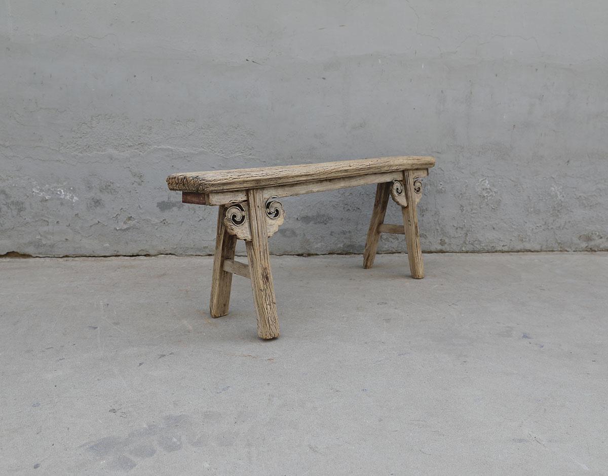 Maisons Origines Bench Raw Elm wood - 133x17xh52cm - Unique Product