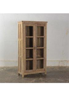 Petite Lily Interiors Vintage Wooden glass showcase - H185xL94xD47cm