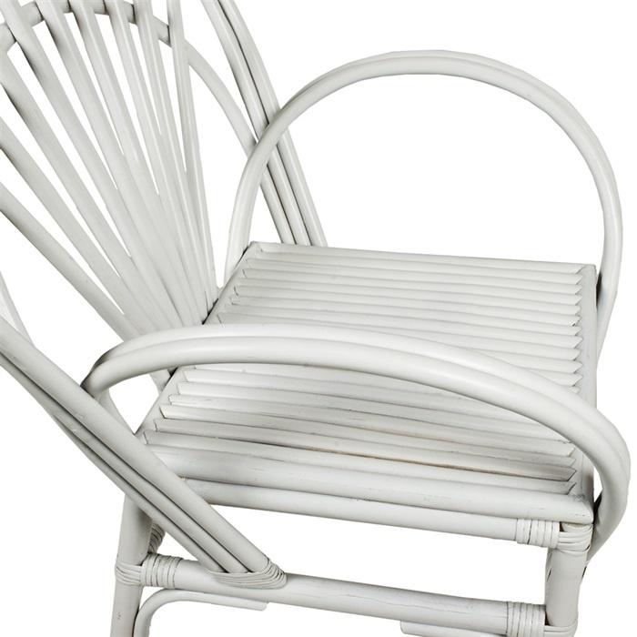 Petite Lily Interiors White Chair  Bamboo  - 73x55cmxH101/43cm