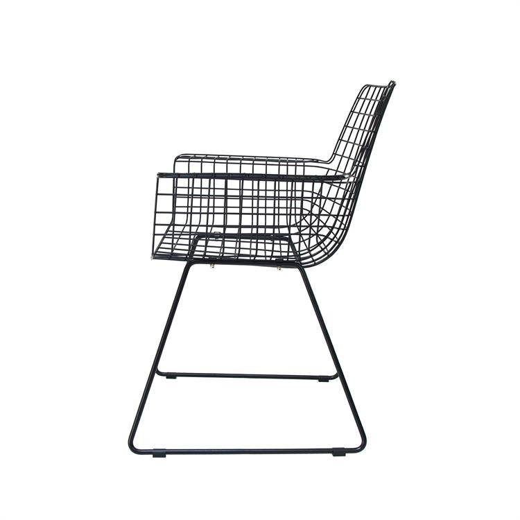 HK Living Set of 2 Black metal chairs WIRE with arms - HK Living