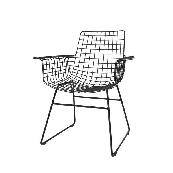 HK Living Black metal chair WIRE with arms - HK Living