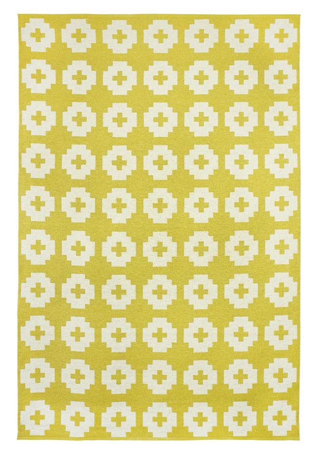 Brita Sweden Vinyl carpet 'Flower' - Yellow - 170x250 cm - Brita Sweden
