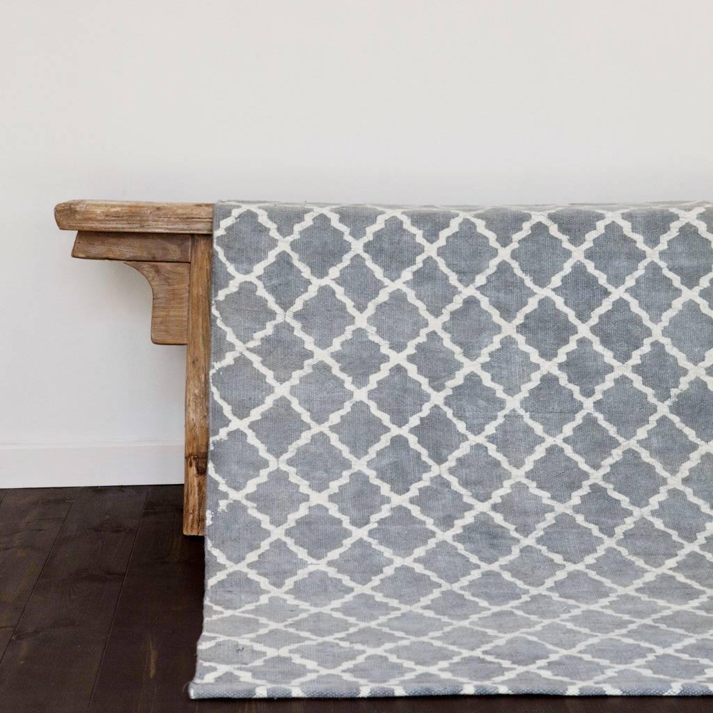 Tell me more tapis scandinave en coton lavé gris 80x200cm tell me more