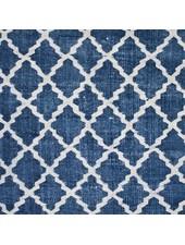 Tell me more Tapis Scandinave en coton lavé - Bleu - 80x200cm - Tell me more
