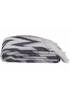 House Doctor Plaid 'Zig Zag' - black / white / gray - 130x170cm - House Doctor