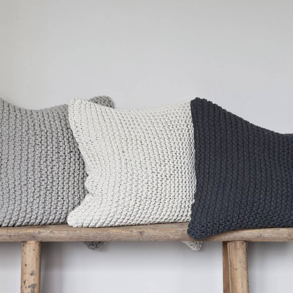 Tell me more Knitted rope cushion cover - 100% cotton - 50x50cm - dark grey - Tell Me More