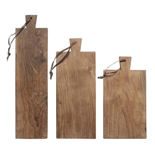 HK Living Set de 3 Planches à découper en teck naturel - HK Living