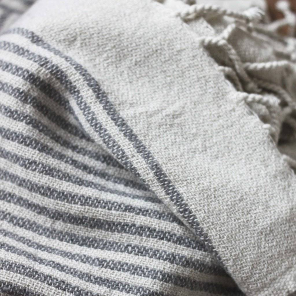 Tell me more Scandinavian plaid FÅRÖ in wool with dark grey stripes - Tell Me More