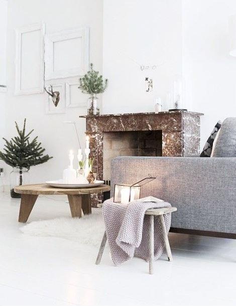 Décoration d'un salon Scandinave aux couleurs claires et naturelles - vu sur Pinterest
