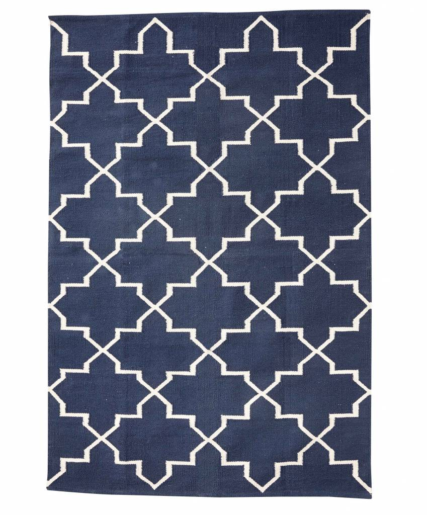 Hubsch Interior Cotton rug Scandinavian - Natural Blue - 120x180cm - Hübsch interior