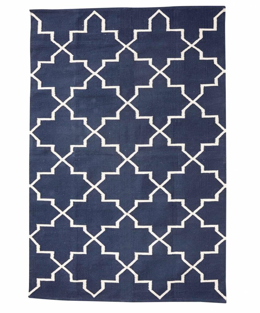 Tapis Scandinave en coton - Bleu Naturel - 120x180cm - Hübsch interior