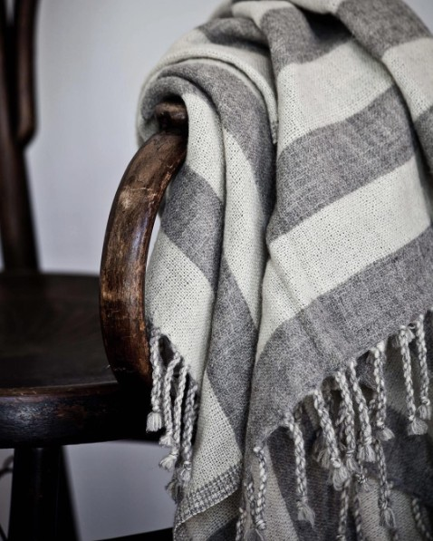 Tell me more Plaid Scandinave en 100% laine rayé gris - Tell Me More