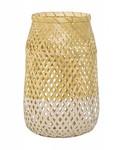 Bloomingville Lámpara Tipo Linterna de Bambú y Vidrio - Natural y Blanco - Ø18 - H30cm - Bloomingville