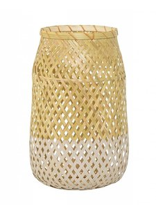 Bloomingville Bamboo and glass lantern - Ø18 - H30cm - natural and white - Bloomingville