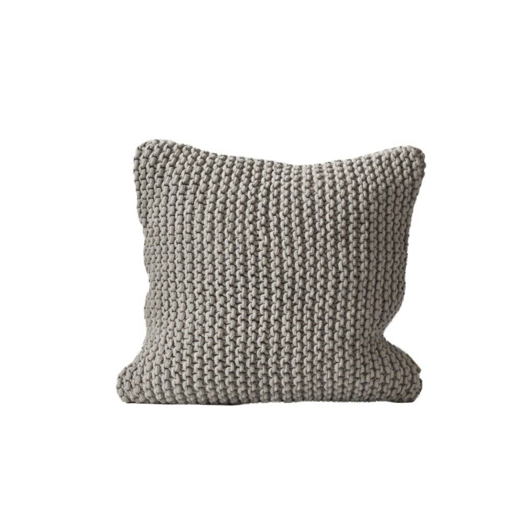 Tell me more Knitted rope cushion cover - 50x50cm - 100% cotton - light grey - Tell Me More