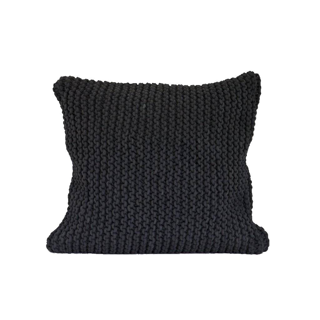 Tell me more Coussin tricot coton - gris foncé - 50x50cm - Tell Me More