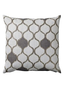 Bloomingville Coussin Habiba - blanc / gris - 50x50cm - Bloomingville
