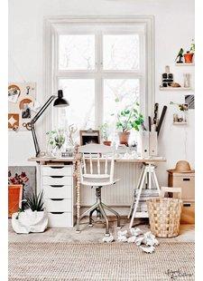 Bureau deco scandinave en blanc et tons naturels - vu sur Pinterest