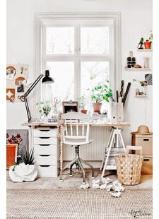 Estudio/ Despacho con decorado escandinavo en blanco y tonos naturales - visto en Pinterest