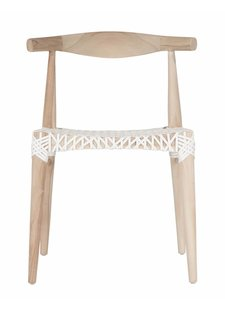 Uniqwa Furniture  Dinning Chair 'Sweni Horn' in Plantation teak et leather - Natural / White - Uniqwa Furniture