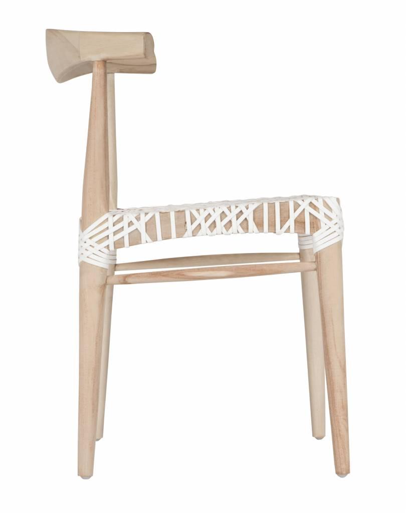 "Uniqwa Furniture  Silla de Comedor ""Sweni Horn"" en teca y cuero - Natural y Blanco - Uniqwa Furniture"