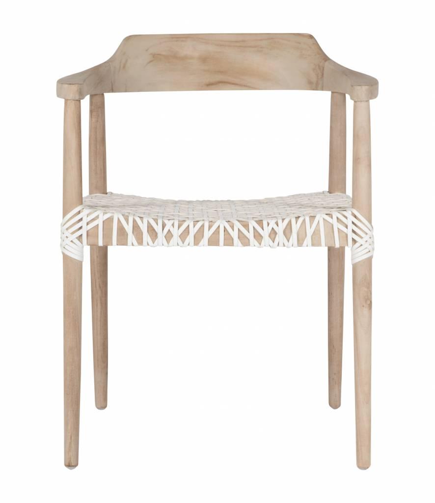 Uniqwa Furniture  Arm Chair 'Sweni Horn' in Plantation teak et leather - Natural / White - Uniqwa Furniture