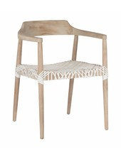 "Uniqwa Furniture  Sillon de teca y cuero ""'Sweni Horn""- Natural y Blanco - Uniqwa Furniture"