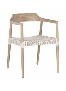 Uniqwa Furniture  Arm Chair 'Sweni Horn' in Plantation teak et leather - Natural / White - Uniqwa Furniture