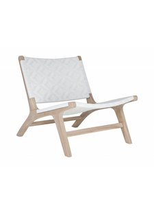 Uniqwa Furniture  Chaise Lounge 'Cape Town' en teck et polyrotin - Naturel et Blanc - Uniqwa Furniture