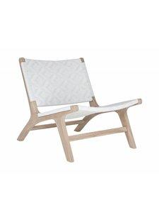Uniqwa Furniture  Sillón 'Cape Town' en teca y ratán de poliéster durable - Natural y Blanco - Uniqwa Furniture